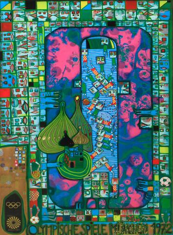 Friedensreich Hundertwasser (Austrian, 1928-2000); Olympische Spiele München (Poster version);