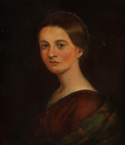 English School, 19th Century A Portrait of a Lady, shoulder-length, in a red dress and plaid shawl 22 x 18in