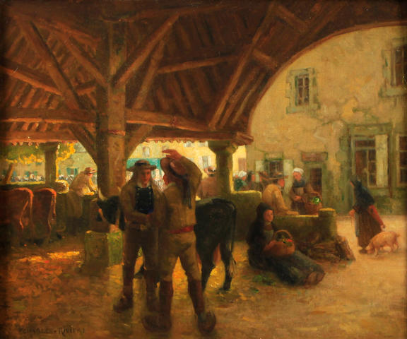 Attributed to Charles Riviere Figures in a stable 23 1/2 x 29in