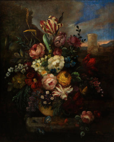 Van Ecken A still life with flowers in an urn 42 x 34in