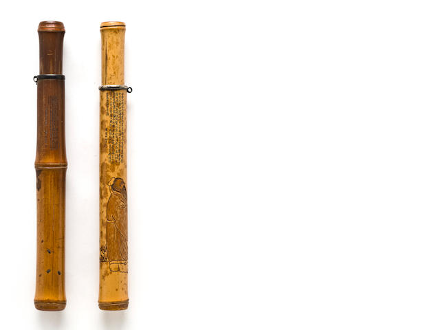 Two bamboo pipecases with scholars and ants