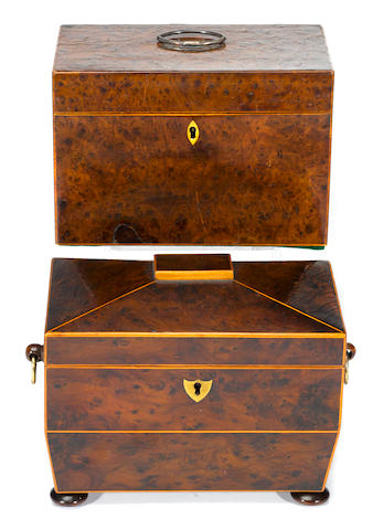 Two George III amboyna or inlaid yew tea caddies