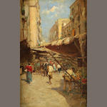 Italian School A village market scene 17 1/4 x 11 1/4in