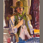 Neil Boyle (American, 1931-2006) Cowboy with pistol 24 x 20in