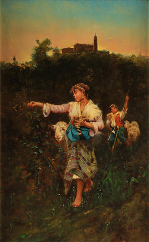Attributed to Ferdinand Victor Léon Roybet (French, 1840-1920) The young shepherdess 15 3/4 x 9 1/2in