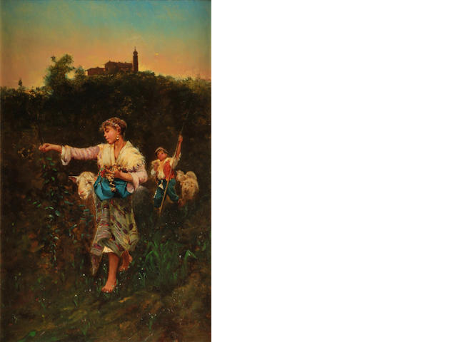 Attributed to Ferdinand Victor Léon Roybet (French, 1840-1920) The shepherdess 15 3/4 x 9 1/2in