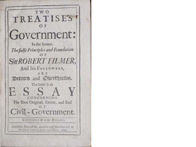 LOCKE, JOHN. 1632-1704. Two Treatises of Government. London: Awnsham and John Churchill, 1694.