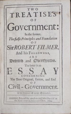 LOCKE, JOHN. 1632-1704. Two Treatises of Government. London: Awnsham and John Churchill, 1694.