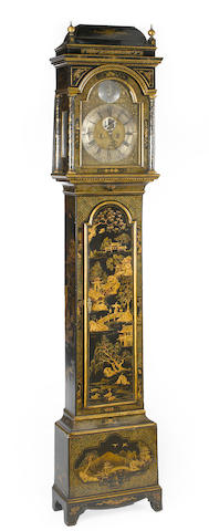 A George I later japanned tall case clock, Thomas Spencer Dysert  first quarter 18th century (brass works by association)