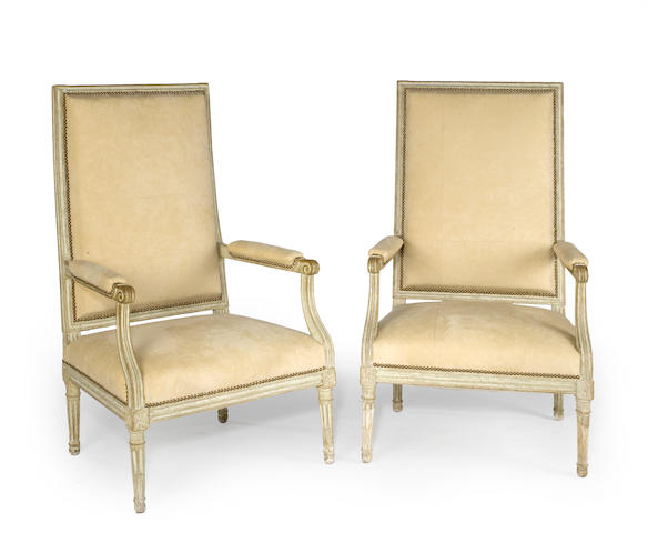 A set of four Louis XVI painted fauteuils a la reine <BR />fourth quarter 18th century