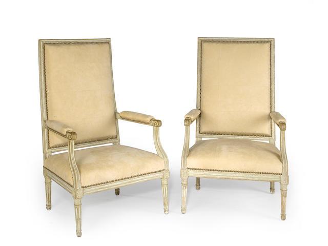 A set of four statuesque Louis XVI painted fauteuils a la reine  fourth quarter 18th century