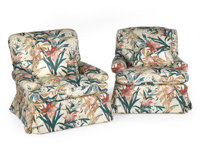 A pair of contemporary upholstered club chairs
