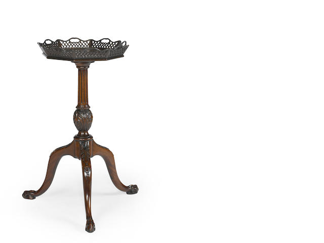 A George III mahogany octagonal kettle stand mid 18th century