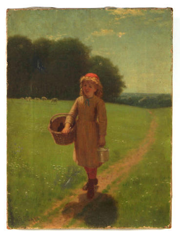 Samuel S. Carr (American, 1837-1908) A girl on the way to the market 12 x 9in