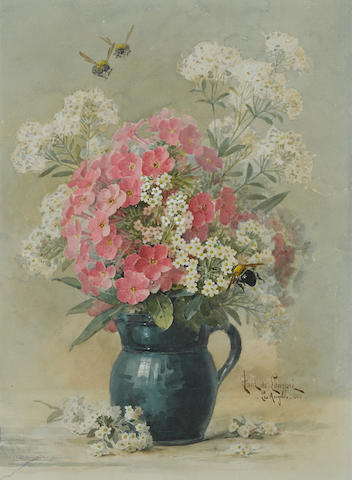 Paul Delongpre (French/American, 1855-1911) Pink and white flowers with bumblebees approx 16 x 12in