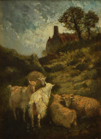 Circle of Constant Troyon (French, 1810-1865) Sheep and goats in a landscape 8 3/4 x 6 1/4in