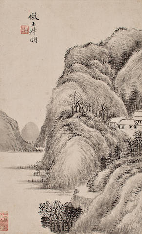 Dai Xi(1801-1860)  Ink Landscape Album Leaf