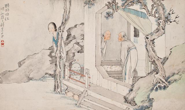 Qian Hui'an (1833-1911)  Drunken Sleep in Yihong Garden