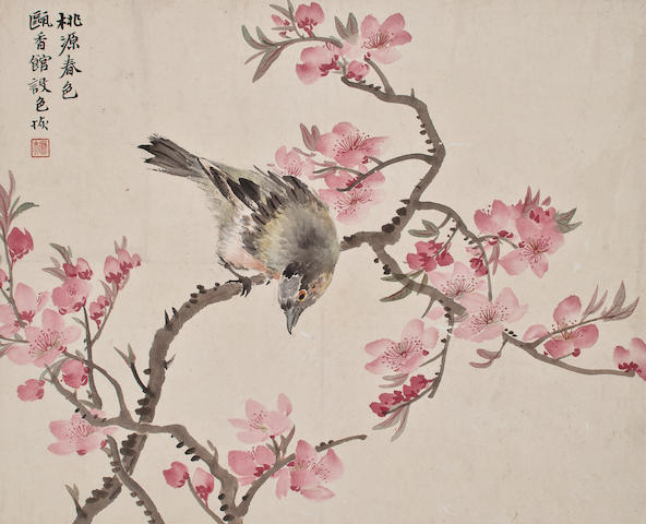 Lu Hui (1851-1920)  Bird and Peach Blossom