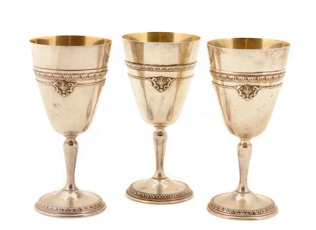 A set of twelve American  sterling silver goblets The Matthews Company, Newark, NJ,  first quarter 20th century