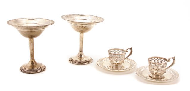 A set of twelve American sterling silver  reticulated demitasse cup frames and saucers Whiting Mfg. Co., Providence, RI,  20th century