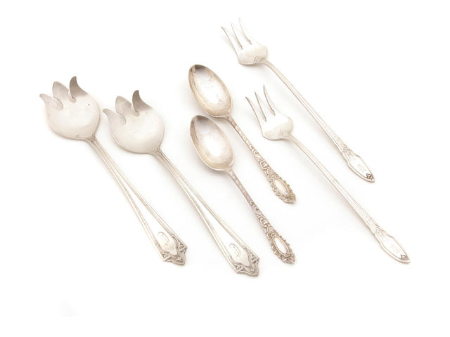 An assembled group of American and English  sterling silver  place setting pieces Late 19th - 20th century