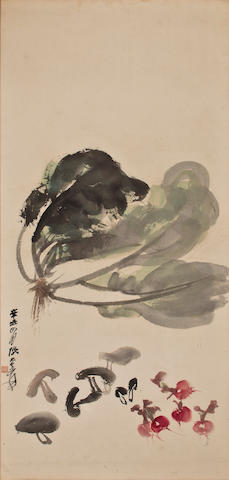 Zhang Daqian (1899-1983) Cabbage, Mushrooms, and Raddish, 1961