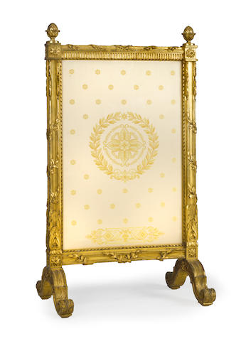 A Louis XVI style giltwood adjustable fire screen<BR />fourth quarter 19th century