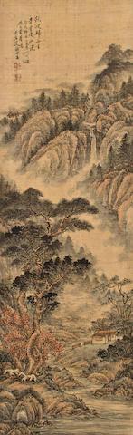 Qian Song [Shugai] (1818-1860) Landscape, 1857