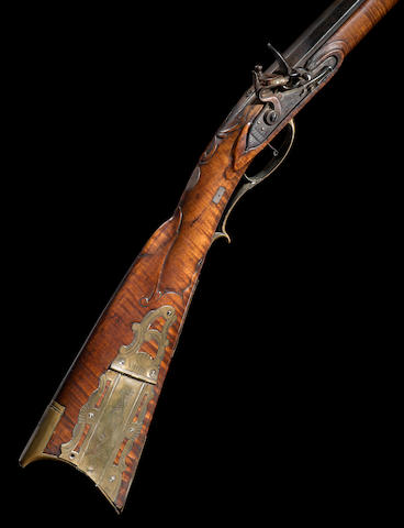 An important full-stocked Pennsylvania flintlock rifle by Frederick Sell