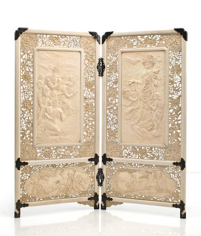 A two-panel ivory table screen By Asahi Gyokuzan (1843-1923)