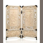 Two panel ivory table screen