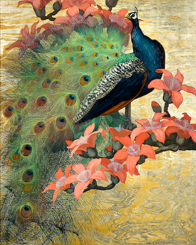 Jessie Arms Botke (American, 1883-1971) Blue peacock 40 x 32in