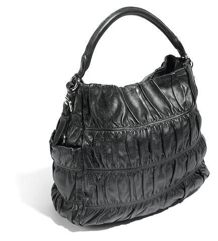 A Prada black rauched leather handbag