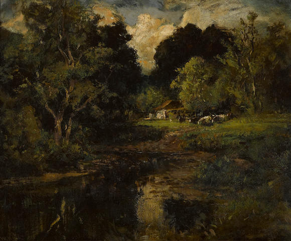 William Keith (Scottish/American, 1838-1911) Landscape with trees, pond and cottage 23 1/2 x 27 1/4in