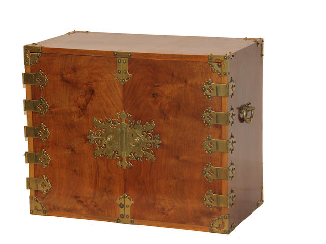 A Baroque style walnut and brass mounted cabinet 19th century