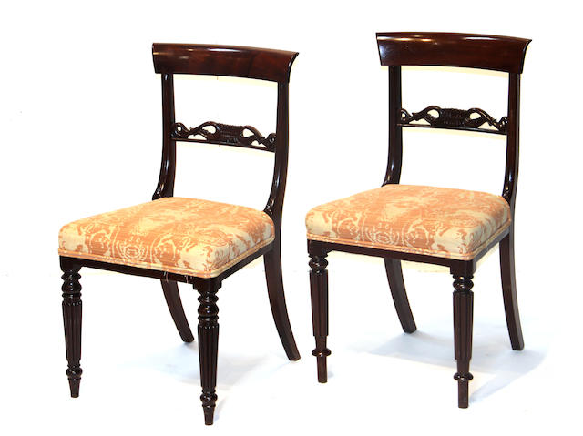 A set of four Regency rosewood and mahogany chairs
