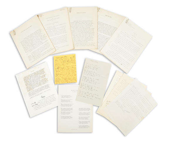 CALIFORNIA WRITERS. Collection of typescripts, correspondence, and printed material by several California writers, including Edward F. O'Day, Joaquin Miller, James Hopper, Nancy Buckley, and Frederick R. Bechdolt.