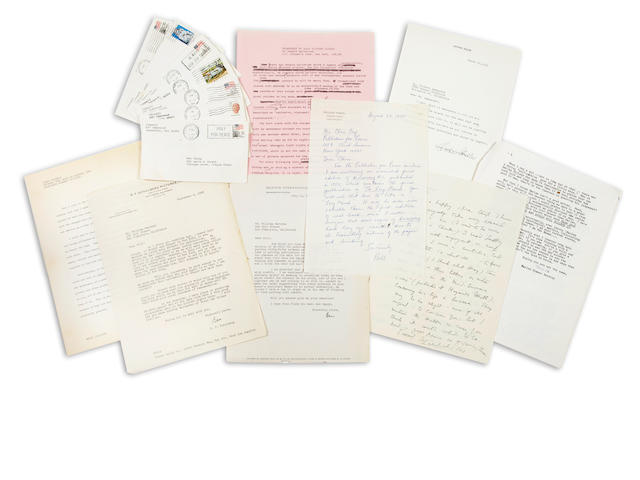 MODERN LITERATURE. Collection of typescripts, correspondence, and printed material by and related to several modern writers, including material by William Golding, Paul Horgan, Maurice Hewlett, Edgar Jepson, Marion Zimmer Bradley, Leonard Merrick, Havelock Ellis, William Styron, Anais Nin, H. Allen Smith, Jersey Kosinski, Robert Hivnor and others.