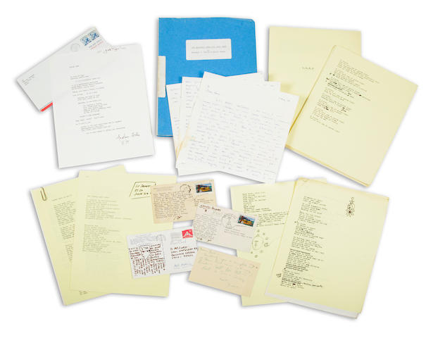 MELTZER, DAVID. B.1937. Archive containing typescripts, correspondence, and related material, c.1960-76, including a typescript poem SIGNED by Anselm Hollo. [WITH]: The Electric Kool-Aid Acid Test, screenplay.