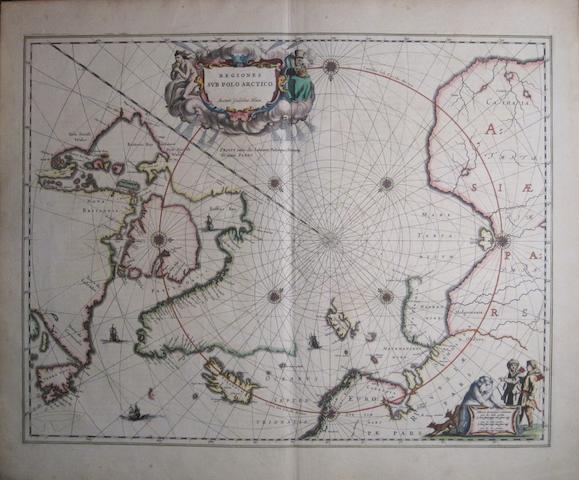 ARCTIC. BLAEU, WILLEM. 1571-1638. Regiones Sub Polo Arctico. [Amsterdam, c. 1635.]