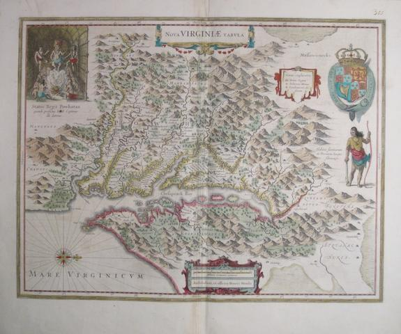VIRGINIA. HONDIUS, HENRICUS. Nova Virginiæ Tabula. [Amsterdam: c. 1638.]