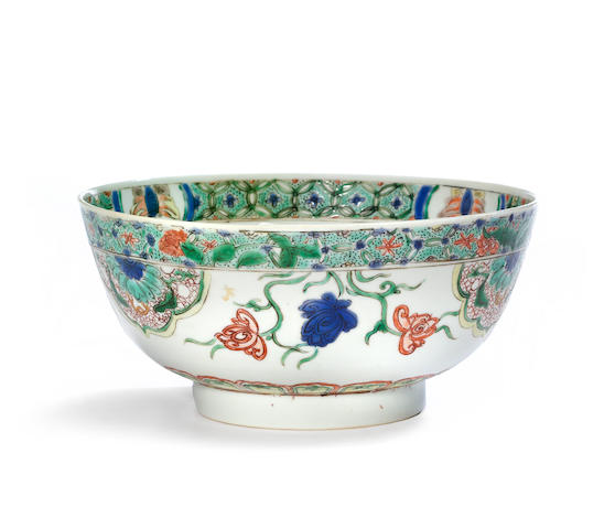 A famille verte enameled porcelain bowl with floral decoration Kangxi period diameter 7 3/8in