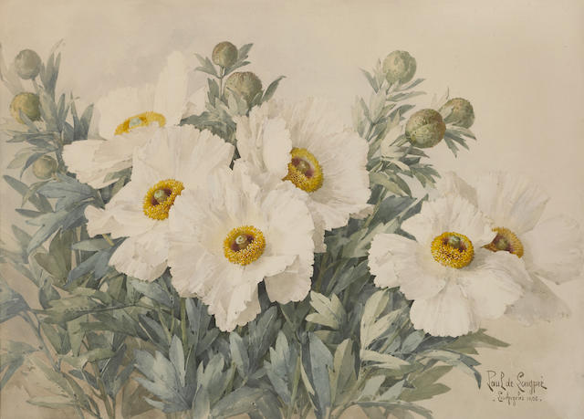 "Paul Delongpre (French/American, 1855-1911) White poppies note: The artist commission work to Nella Meade, Pasadena. By descent through the family to the present owner. According to the currwnt owner, Nella ""Love your work, don't like your bees""."