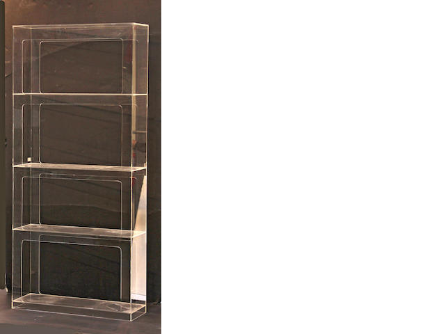 An acrylic bookcase fourth quarter 20th century