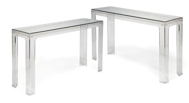 A pair of contemporary acrylic console tables fourth quarter 20th century