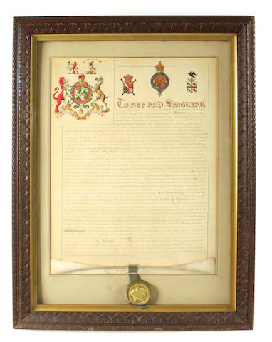 "HERALDRY. Manuscript Document Signed, ""Ralph Bigland Garter"", Principal King of Arms, with his seal affixed, conferring the title of Baronet on Sir James Hawkins-Whitshed,"