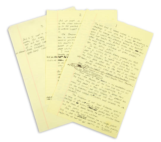 A handwritten Billy Joel speech
