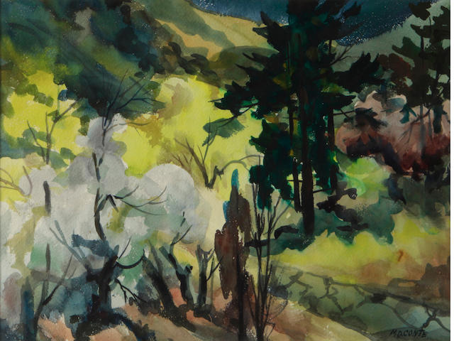 M.D. Conte, Landscape, signed (lower right), watercolor on paper