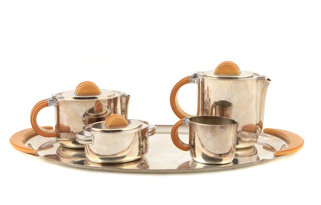 A five-piece German silver-plated tea set by F.W. Quist